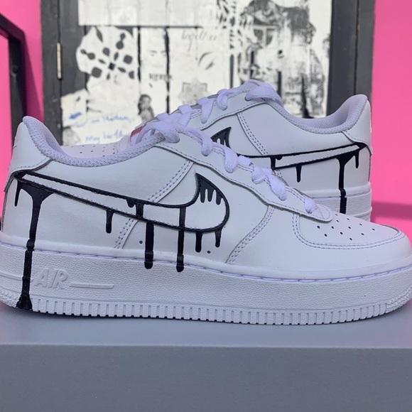 Black Drip Custom Nike Air Force 1